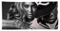 Jay Z Beyonce Collection Beach Towel by Marvin Blaine
