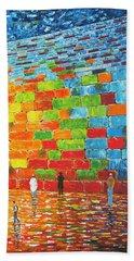 Beach Sheet featuring the painting Jerusalem Wailing Wall Original Acrylic Palette Knife Painting by Georgeta Blanaru