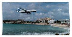 jetBlue landing at St. Maarten Beach Towel