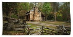 John Oliver Cabin Cades Cove Beach Towel by Lena Auxier