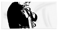 Johnny Cash Black And White Beach Towel