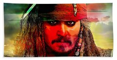 Johnny Depp Painting Beach Towel