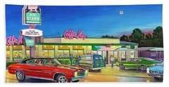 Muscle Car Cruise Night Beach Towel