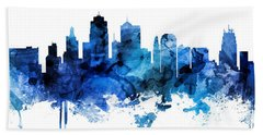 Kansas City Missouri Skyline Custom Panoramic Beach Towel