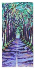 Beach Towel featuring the painting Kauai Tree Tunnel by Marionette Taboniar
