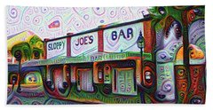 Key West Florida Sloppy Joes Bar Beach Sheet by Bill Cannon