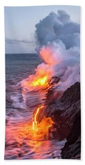Kilauea Volcano Lava Flow Sea Entry 7 - The Big Island Hawaii Beach Towel