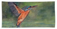 Beach Sheet featuring the painting Kingfisher by David Stribbling