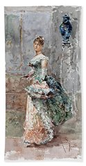 Lady In Formal Dress Beach Towel