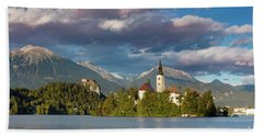 Beach Towel featuring the photograph Lake Bled Evening by Brian Jannsen