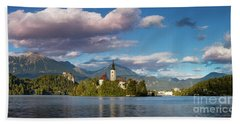 Beach Towel featuring the photograph Lake Bled Panoramic by Brian Jannsen