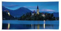 Beach Towel featuring the photograph Lake Bled Twilight by Brian Jannsen
