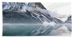 Beach Sheet featuring the photograph Lake Louise Mountain Snow Landscape by Andrea Hazel Ihlefeld