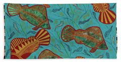 Large Barramundi Swimming  Beach Towel