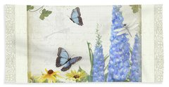 Beach Towel featuring the painting Le Petit Jardin 1 - Garden Floral W Butterflies, Dragonflies, Daisies And Delphinium by Audrey Jeanne Roberts