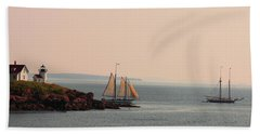 Leaving Camden Harbor Beach Towel