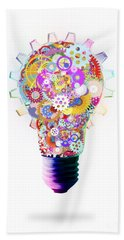 Light Bulb Design By Cogs And Gears  Beach Towel