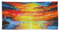 Beach Towel featuring the painting  Lighthouse Sunset Ocean View Palette Knife Original Painting by Georgeta Blanaru