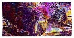 Beach Sheet featuring the digital art Lion Cat Zoo Male Big Cat Africa  by PixBreak Art