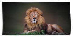 Beach Towel featuring the photograph Lion King by Charuhas Images