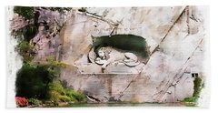 Beach Towel featuring the photograph Lion Of Lucerne by Joseph Hendrix