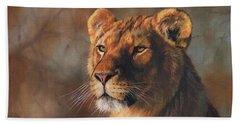Lioness Portrait Beach Sheet by David Stribbling