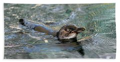 Little Penguin In The Water Beach Towel