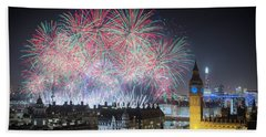 London New Year Fireworks Display Beach Towel