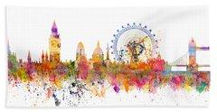 London Skyline Watercolor Beach Towel