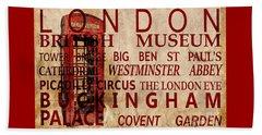 London Vintage Poster Red Beach Towel