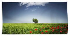 Lone Tree A Poppies Field Beach Sheet by Bess Hamiti