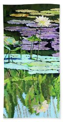Lotus Reflections Beach Towel