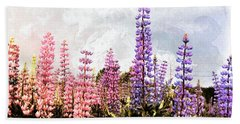 Lupins Beach Sheet by Elaine Manley