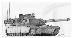 Beach Towel featuring the drawing M1a1 Tank by Betsy Hackett