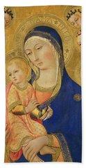 Madonna And Child With Saint Jerome, Saint Bernardino, And Angels Beach Towel