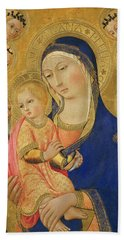 Madonna And Child With Saint Jerome, Saint Bernardino, And Angels Beach Towel