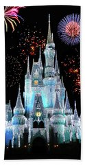 Magic Kingdom Castle In Frosty Light Blue With Fireworks 06 Mp Beach Towel