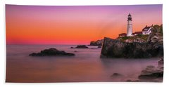 Beach Towel featuring the photograph Maine Portland Headlight Lighthouse At Sunset by Ranjay Mitra