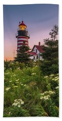Maine West Quoddy Head Light At Sunset Beach Towel