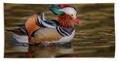 Beach Sheet featuring the photograph Mandarin Duck  by Susan Candelario
