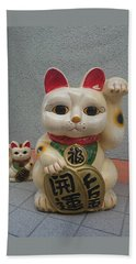 A Figure Of A Beckoning Cat, Called 'manekineko' Beach Sheet