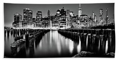 Manhattan Skyline At Night Beach Towel by Az Jackson