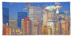 Manhattan Skyline Beach Sheet by Kai Saarto