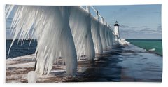 Manistee Pierhead Light Beach Towel