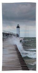 Manistee Pierhead Lighthouse-6 Beach Towel