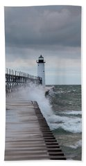 Manistee Pierhead Lighthouse-6 Beach Towel