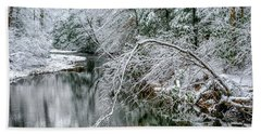 Beach Sheet featuring the photograph March Snow Cranberry River by Thomas R Fletcher