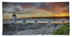 Marshall Point Lighthouse At Sunset, Maine, Usa Beach Towel
