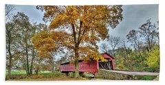 Maryland Covered Bridge In Autumn Beach Sheet