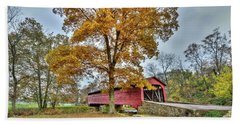Maryland Covered Bridge In Autumn Beach Sheet